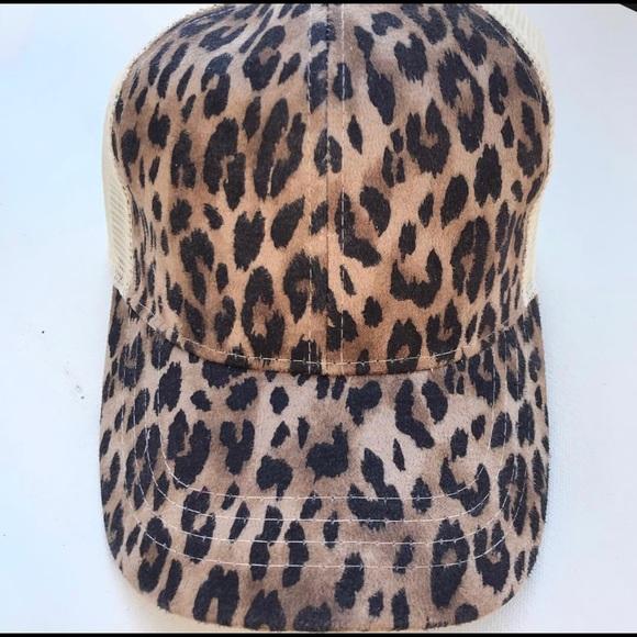 4048ab9c1 CC Cheetah Print High Ponytail & Messy Bun Cap Boutique